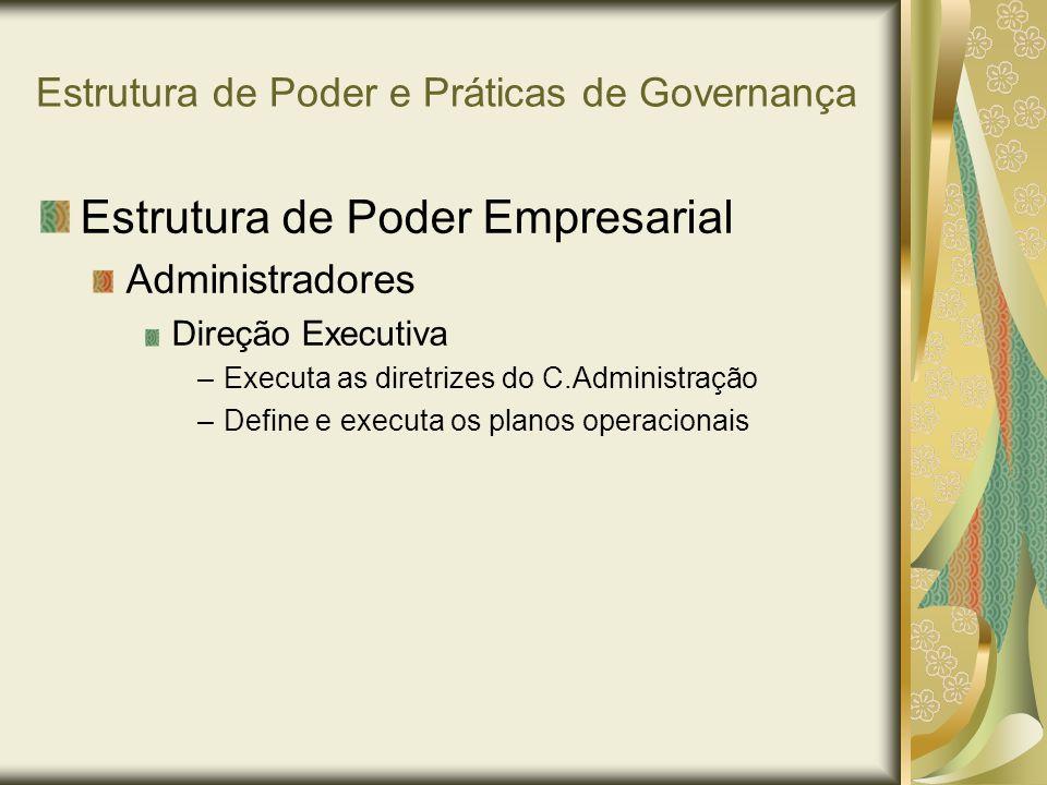 Estrutura de Poder e Práticas de Governança Estrutura de Poder Empresarial Administradores Direção Executiva –Executa as diretrizes do C.Administração