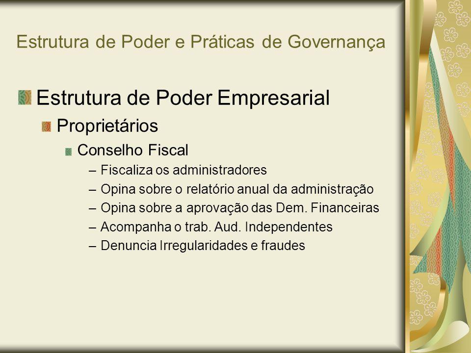 Estrutura de Poder e Práticas de Governança Estrutura de Poder Empresarial Proprietários Conselho Fiscal –Fiscaliza os administradores –Opina sobre o