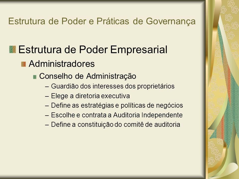 Estrutura de Poder e Práticas de Governança Estrutura de Poder Empresarial Administradores Conselho de Administração –Passivo –Certificador –Envolvido –Interventor –Operador