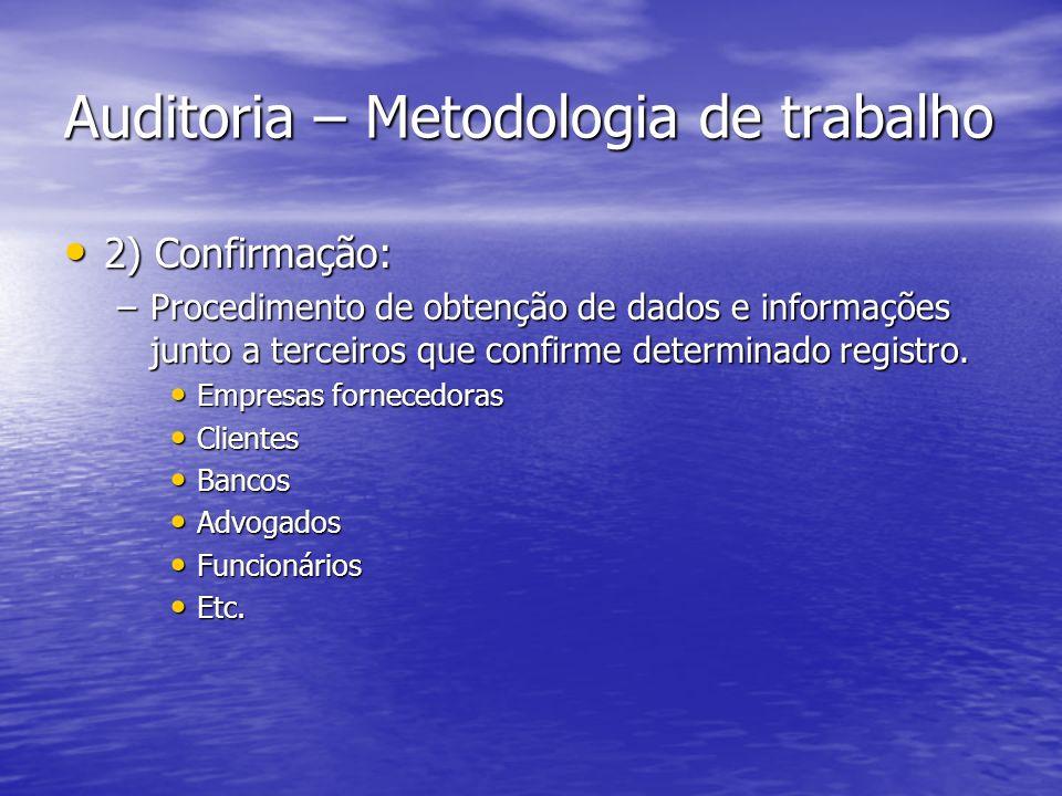 Auditoria – Metodologia de trabalho 2) Confirmação: 2) Confirmação: –Procedimento de obtenção de dados e informações junto a terceiros que confirme de