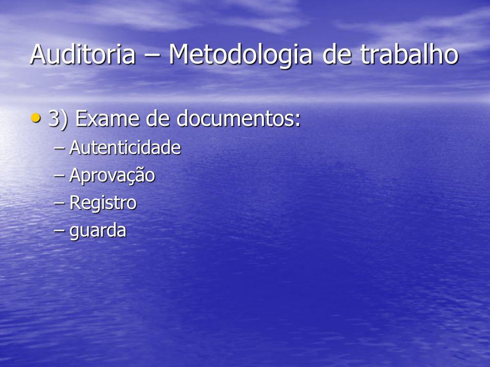 Auditoria – Metodologia de trabalho 3) Exame de documentos: 3) Exame de documentos: –Autenticidade –Aprovação –Registro –guarda
