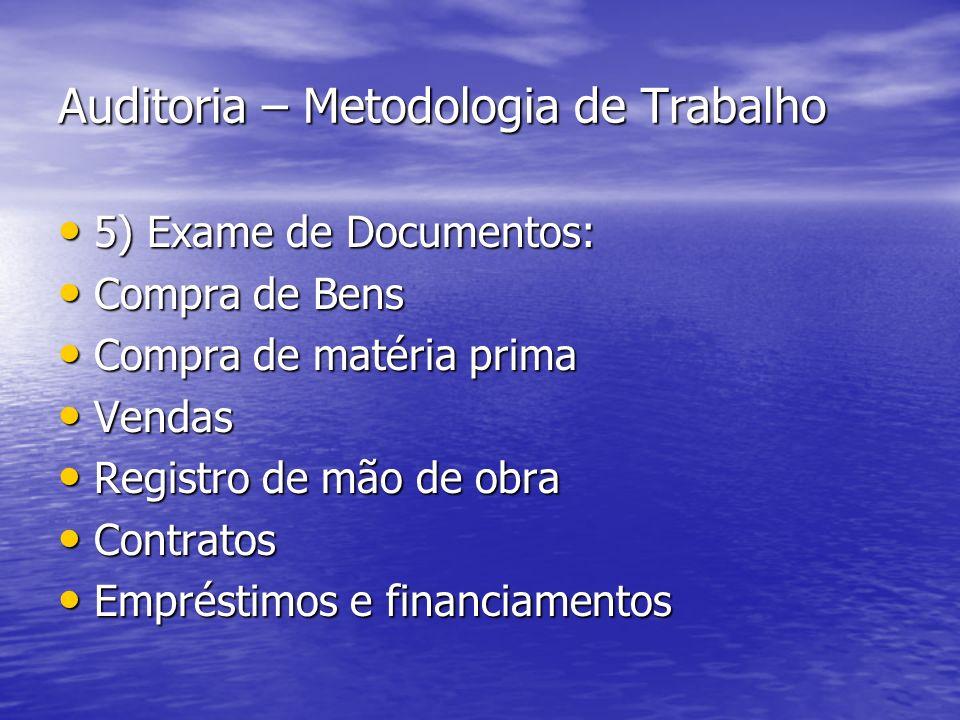 Auditoria – Metodologia de Trabalho 5) Exame de Documentos: 5) Exame de Documentos: Compra de Bens Compra de Bens Compra de matéria prima Compra de ma