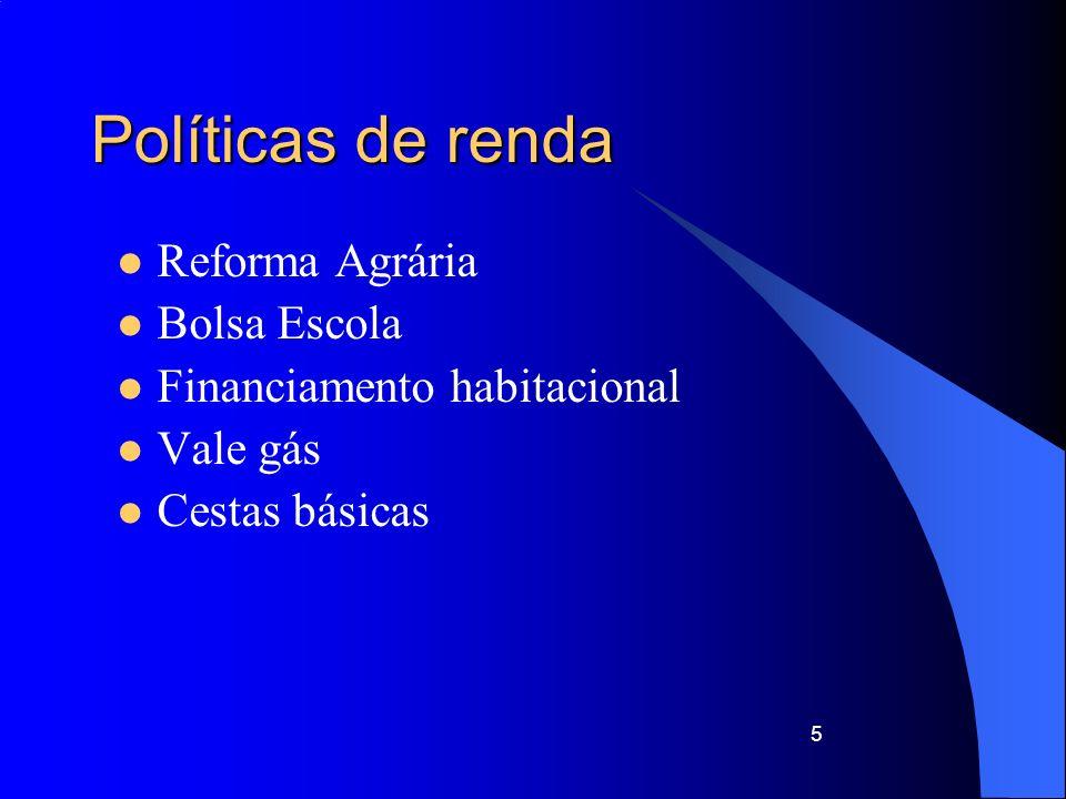 6 Políticas de Desenvolvimento Financiamentos – BNDES Infra estrutura –Transportes –Energia –Telecomunicações Investimentos produtivos