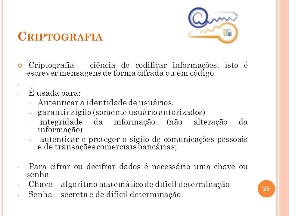 C RIPTOGRAFIA Criptografia – ciência de codificar informações, isto é escrever mensagens de forma cifrada ou em código. - - É usada para: - Autenticar