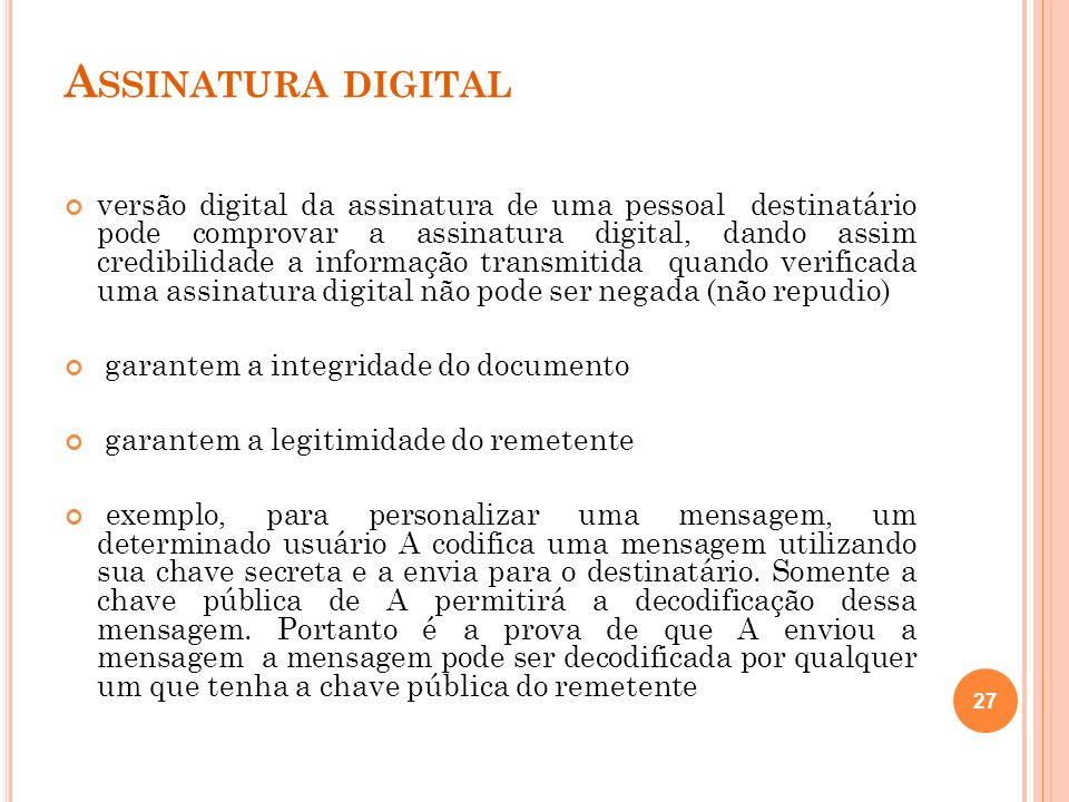 A SSINATURA DIGITAL versão digital da assinatura de uma pessoal destinatário pode comprovar a assinatura digital, dando assim credibilidade a informaç