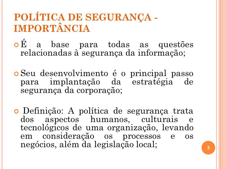 POLÍTICA DE SEGURANÇA - IMPORTÂNCIA É a base para todas as questões relacionadas à segurança da informação; Seu desenvolvimento é o principal passo pa