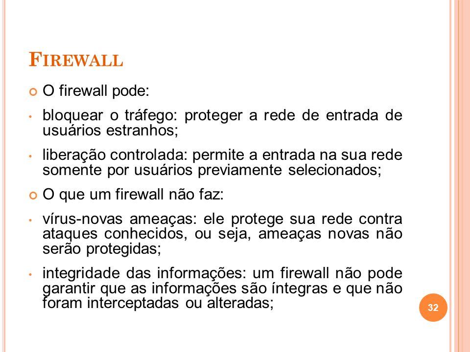 F IREWALL O firewall pode: bloquear o tráfego: proteger a rede de entrada de usuários estranhos; liberação controlada: permite a entrada na sua rede s
