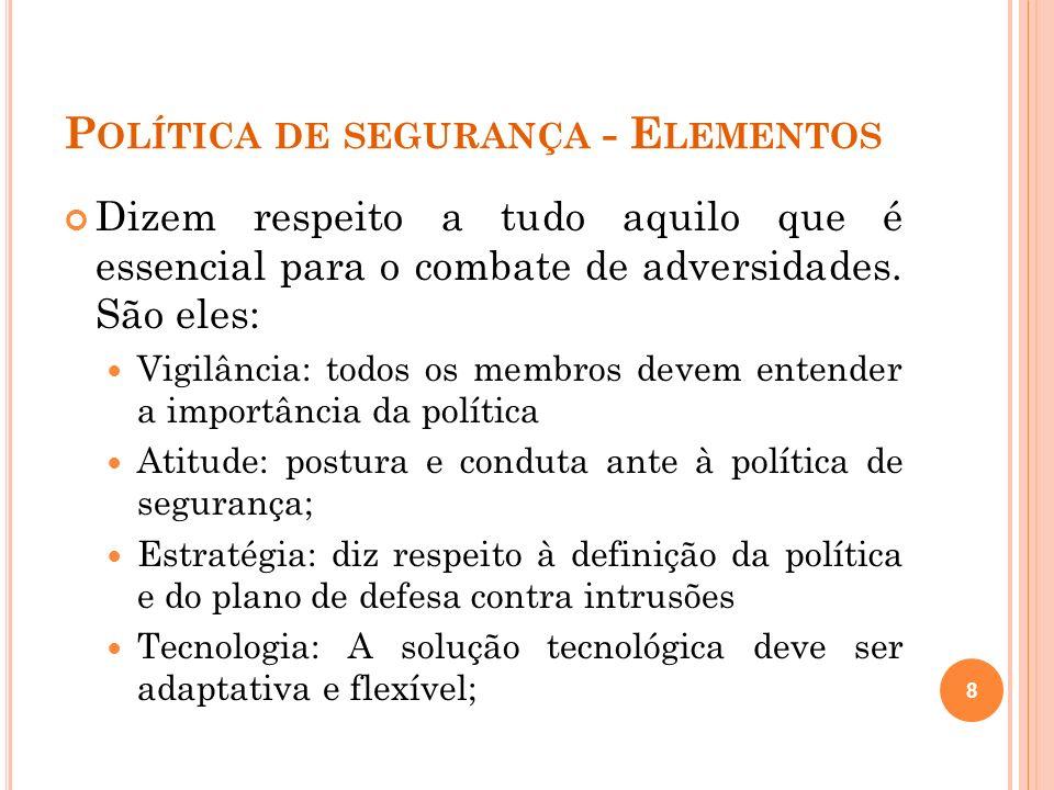 P OLÍTICA DE S EGURANÇA - E LEMENTOS Segundo a norma ISO/IEC 17799, a política de segurança deve seguir pelo menos as seguintes orientações: Definição da segurança da informação; Declaração do comprometimento do corpo executivo; 9