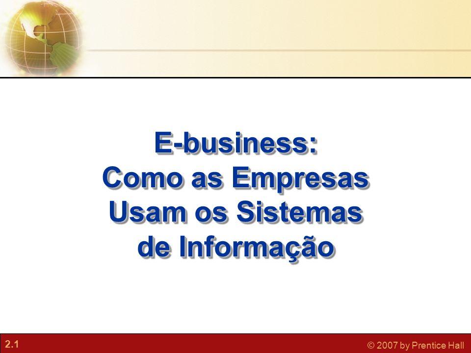 2.1 © 2007 by Prentice Hall E-business: Como as Empresas Usam os Sistemas de Informação E-business: Como as Empresas Usam os Sistemas de Informação