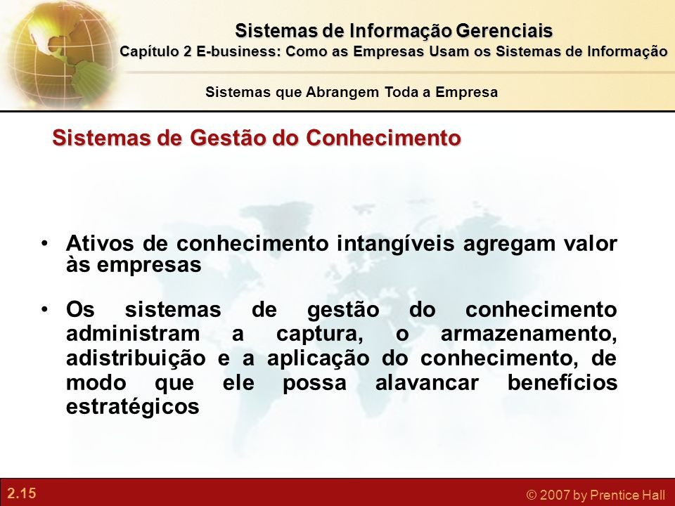 2.15 © 2007 by Prentice Hall Sistemas de Informação Gerenciais Capítulo 2 E-business: Como as Empresas Usam os Sistemas de Informação 2.15 © 2007 by P