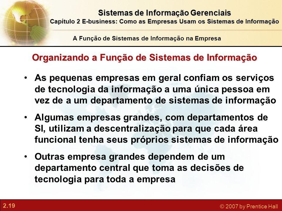 2.19 © 2007 by Prentice Hall Sistemas de Informação Gerenciais Capítulo 2 E-business: Como as Empresas Usam os Sistemas de Informação 2.19 © 2007 by P