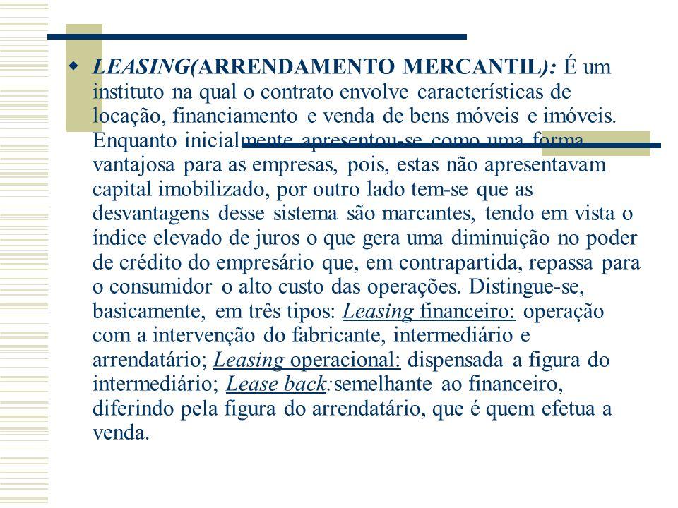 LEASING(ARRENDAMENTO MERCANTIL): É um instituto na qual o contrato envolve características de locação, financiamento e venda de bens móveis e imóveis.