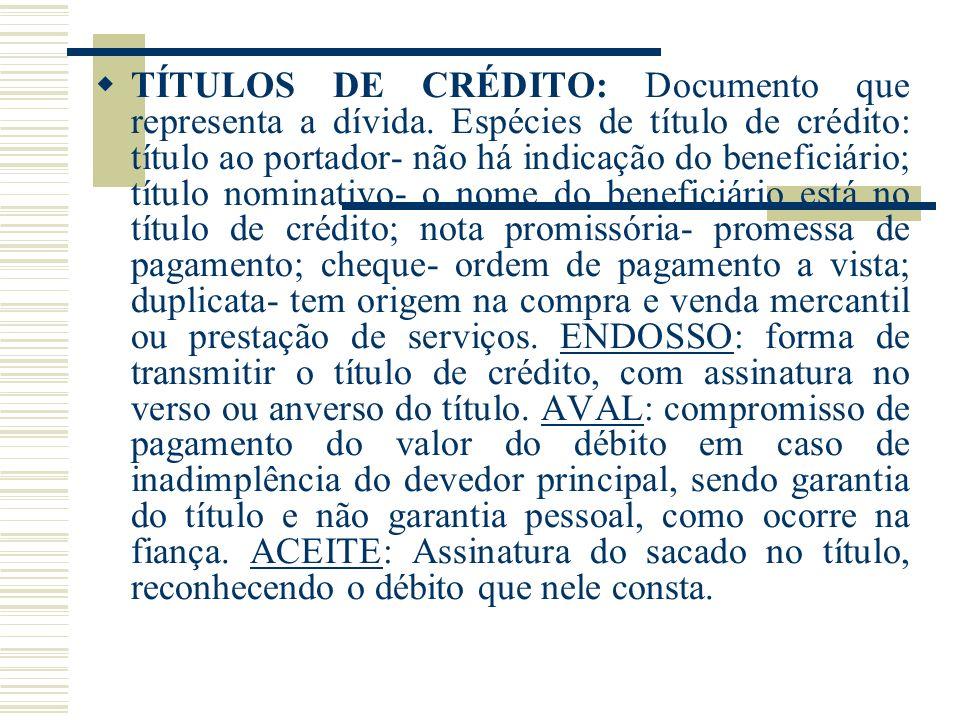 TÍTULOS DE CRÉDITO: Documento que representa a dívida. Espécies de título de crédito: título ao portador- não há indicação do beneficiário; título nom