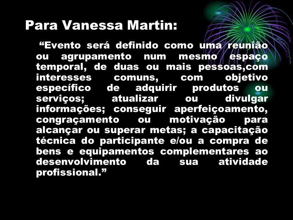 Para Vanessa Martin: Evento será definido como uma reunião ou agrupamento num mesmo espaço temporal, de duas ou mais pessoas,com interesses comuns, co