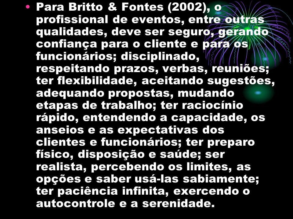 Para Britto & Fontes (2002), o profissional de eventos, entre outras qualidades, deve ser seguro, gerando confiança para o cliente e para os funcionár