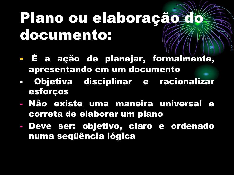 Plano ou elaboração do documento: - É a ação de planejar, formalmente, apresentando em um documento - Objetiva disciplinar e racionalizar esforços -Nã