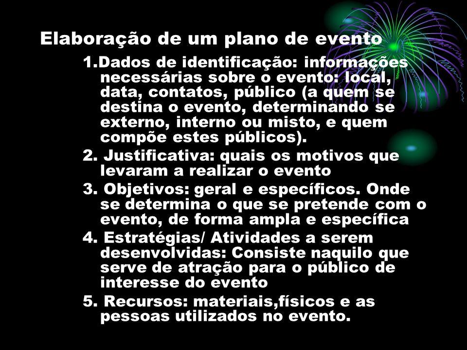Elaboração de um plano de evento 1.Dados de identificação: informações necessárias sobre o evento: local, data, contatos, público (a quem se destina o