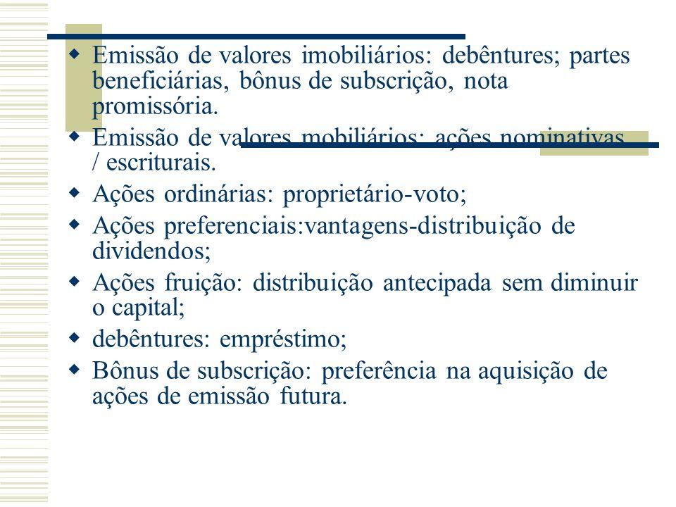 Emissão de valores imobiliários: debêntures; partes beneficiárias, bônus de subscrição, nota promissória. Emissão de valores mobiliários: ações nomina