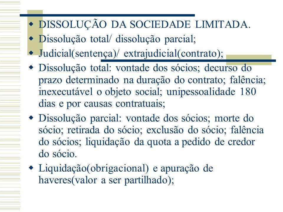 DISSOLUÇÃO DA SOCIEDADE LIMITADA. Dissolução total/ dissolução parcial; Judicial(sentença)/ extrajudicial(contrato); Dissolução total: vontade dos sóc