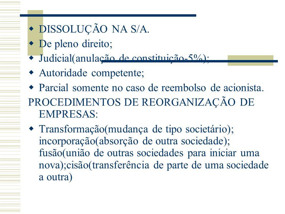 DISSOLUÇÃO NA S/A. De pleno direito; Judicial(anulação de constituição-5%); Autoridade competente; Parcial somente no caso de reembolso de acionista.