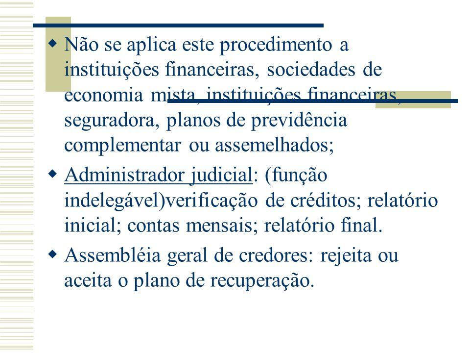 Não se aplica este procedimento a instituições financeiras, sociedades de economia mista, instituições financeiras, seguradora, planos de previdência
