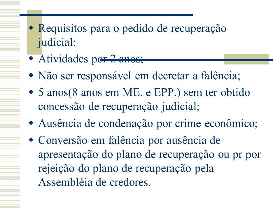 Requisitos para o pedido de recuperação judicial: Atividades por 2 anos; Não ser responsável em decretar a falência; 5 anos(8 anos em ME. e EPP.) sem