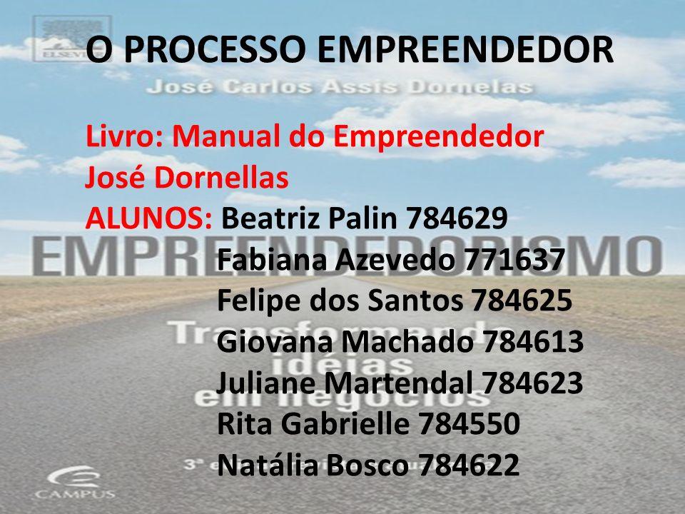 O PROCESSO EMPREENDEDOR Livro: Manual do Empreendedor José Dornellas ALUNOS: Beatriz Palin 784629 Fabiana Azevedo 771637 Felipe dos Santos 784625 Giov