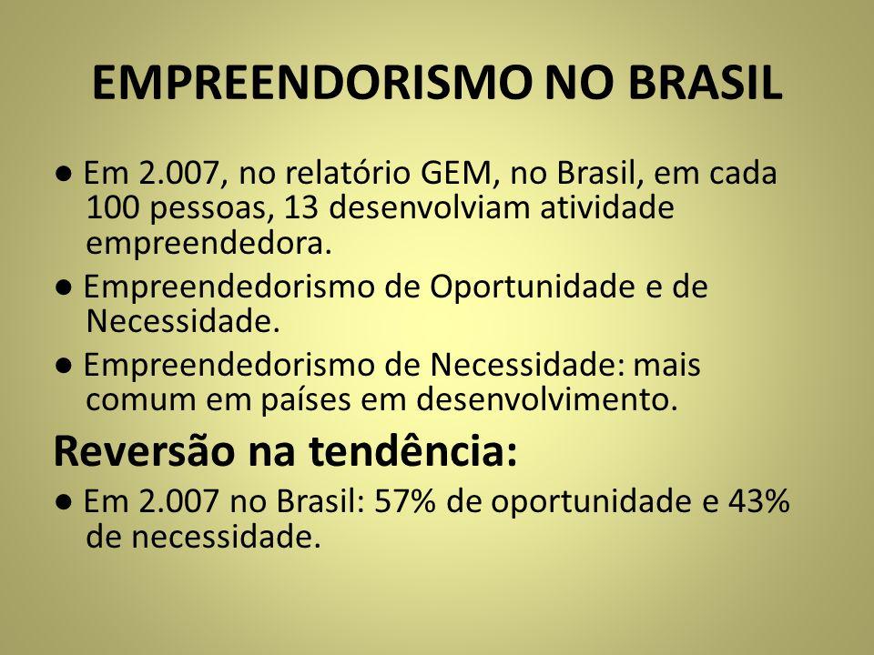 EMPREENDORISMO NO BRASIL Em 2.007, no relatório GEM, no Brasil, em cada 100 pessoas, 13 desenvolviam atividade empreendedora. Empreendedorismo de Opor