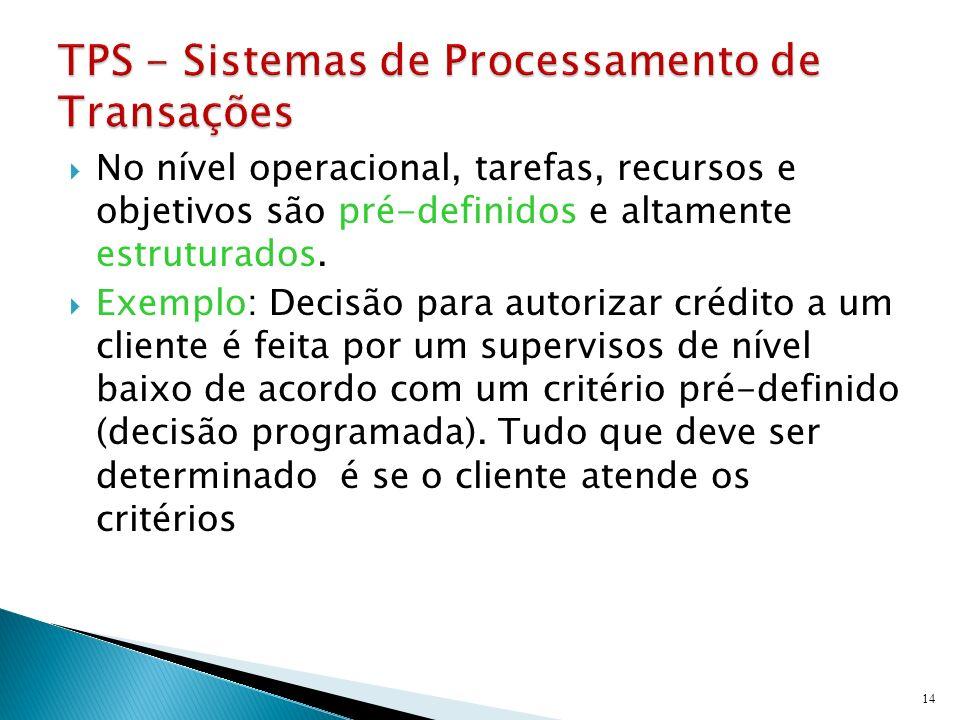 No nível operacional, tarefas, recursos e objetivos são pré-definidos e altamente estruturados. Exemplo: Decisão para autorizar crédito a um cliente é
