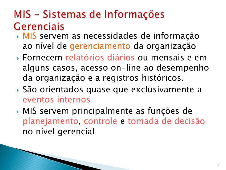 MIS servem as necessidades de informação ao nível de gerenciamento da organização Fornecem relatórios diários ou mensais e em alguns casos, acesso on-