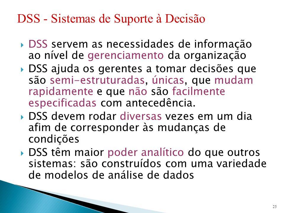 DSS servem as necessidades de informação ao nível de gerenciamento da organização DSS ajuda os gerentes a tomar decisões que são semi-estruturadas, ún