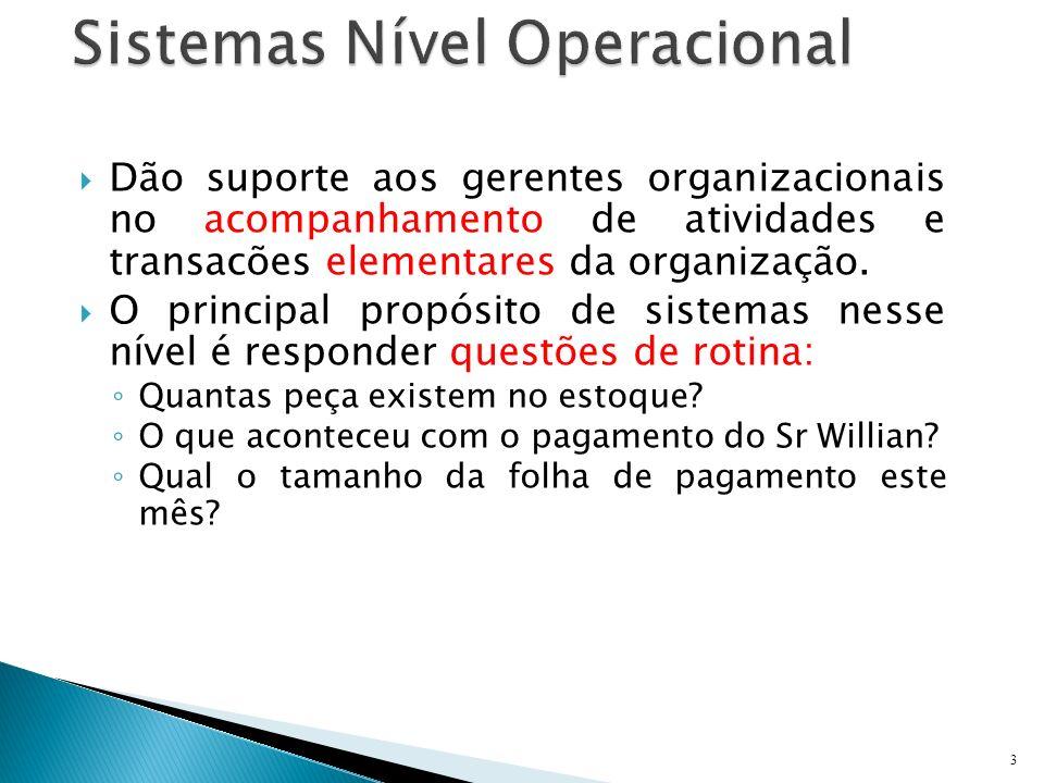 Dão suporte aos gerentes organizacionais no acompanhamento de atividades e transacões elementares da organização. O principal propósito de sistemas ne