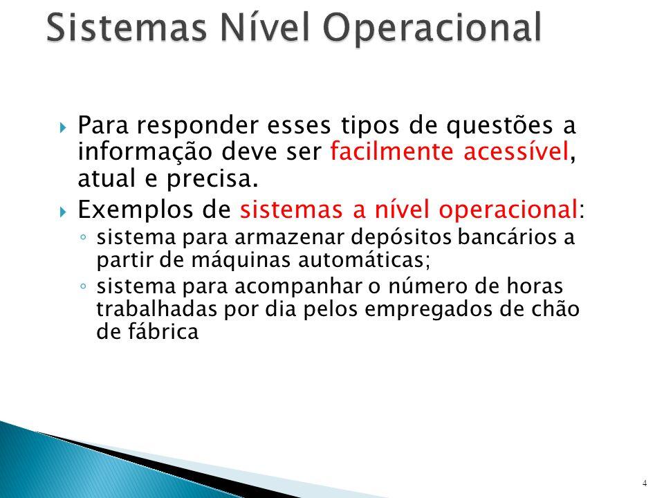 Para responder esses tipos de questões a informação deve ser facilmente acessível, atual e precisa. Exemplos de sistemas a nível operacional: sistema