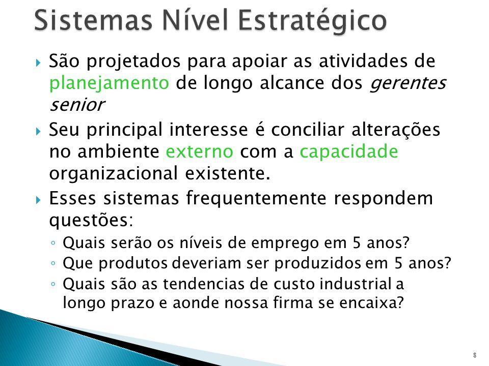 Os Sistemas de Informação também podem ser diferenciados por especialidade funcional As principais funções organizacionais são servidas por seus próprios Sistemas de Informação 9 Vendas e Marketing FabricaçãoContabilidade Finanças Recursos Humanos