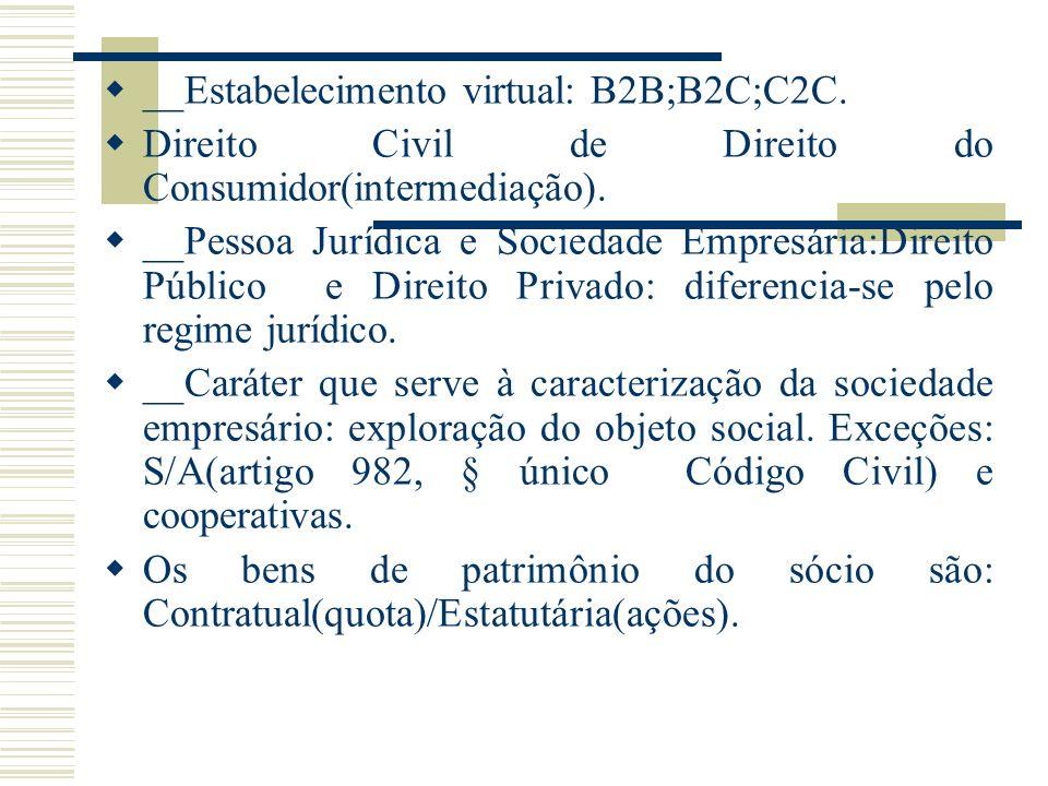__Estabelecimento virtual: B2B;B2C;C2C. Direito Civil de Direito do Consumidor(intermediação). __Pessoa Jurídica e Sociedade Empresária:Direito Públic