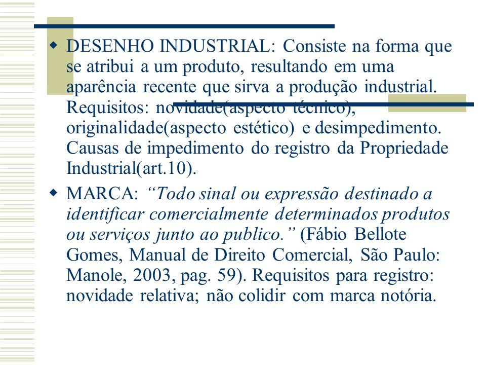 DESENHO INDUSTRIAL: Consiste na forma que se atribui a um produto, resultando em uma aparência recente que sirva a produção industrial. Requisitos: no