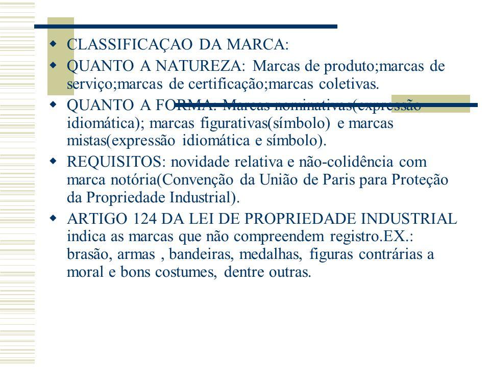 CLASSIFICAÇAO DA MARCA: QUANTO A NATUREZA: Marcas de produto;marcas de serviço;marcas de certificação;marcas coletivas. QUANTO A FORMA: Marcas nominat