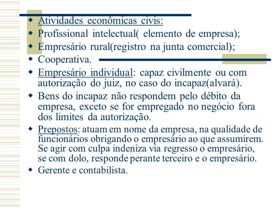 Atividades econômicas civis: Profissional intelectual( elemento de empresa); Empresário rural(registro na junta comercial); Cooperativa. Empresário in