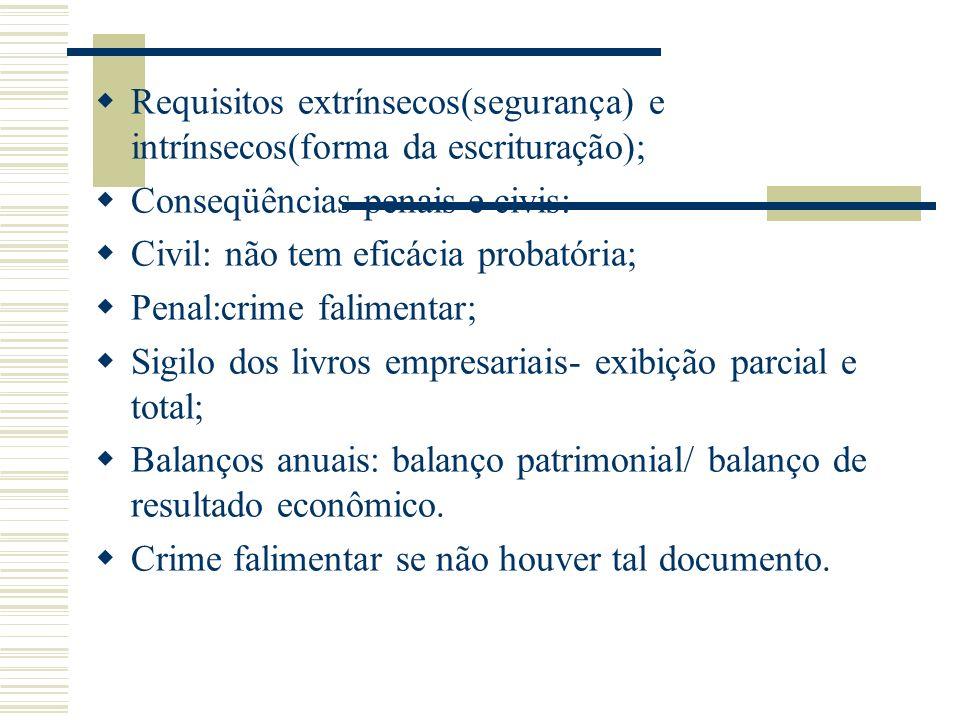 Requisitos extrínsecos(segurança) e intrínsecos(forma da escrituração); Conseqüências penais e civis: Civil: não tem eficácia probatória; Penal:crime