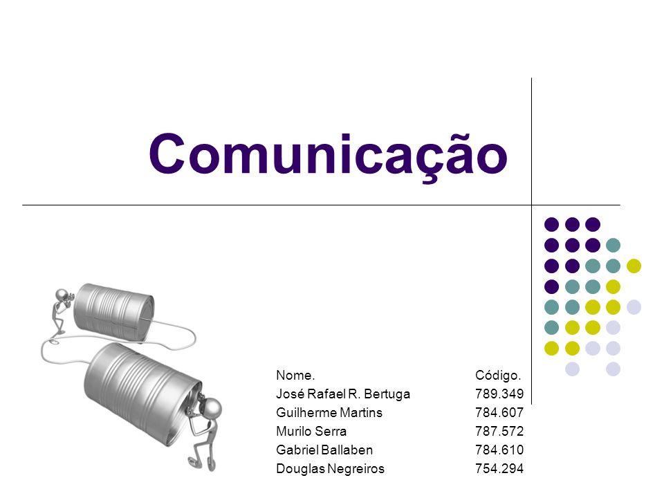 Comunicação Nome.Código. José Rafael R. Bertuga789.349 Guilherme Martins784.607 Murilo Serra787.572 Gabriel Ballaben784.610 Douglas Negreiros754.294