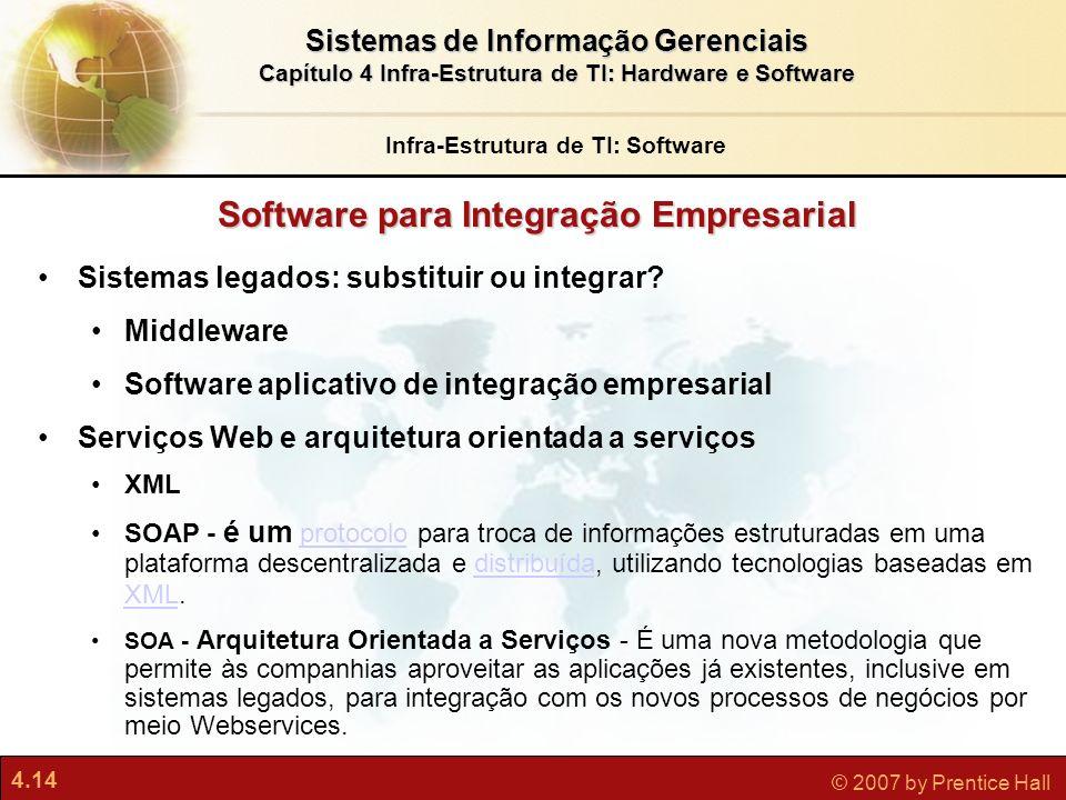 4.14 © 2007 by Prentice Hall Sistemas de Informação Gerenciais Capítulo 4 Infra-Estrutura de TI: Hardware e Software Sistemas legados: substituir ou i