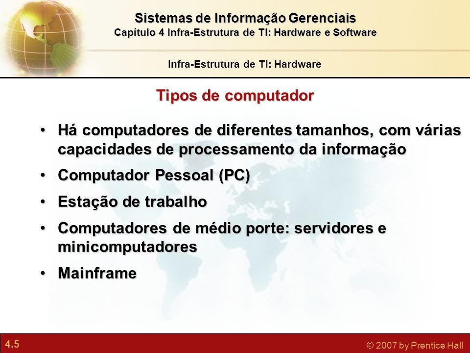 4.6 © 2007 by Prentice Hall Sistemas de Informação Gerenciais Capítulo 4 Infra-Estrutura de TI: Hardware e Software Tipos de Computador Computação em gradeComputação em grade Computação cliente/servidorComputação cliente/servidor Arquiteturas cliente/servidor multicamadas (N- camadas)Arquiteturas cliente/servidor multicamadas (N- camadas) ServidorServidor Web Servidor de aplicativo Infra-Estrutura de TI: Hardware