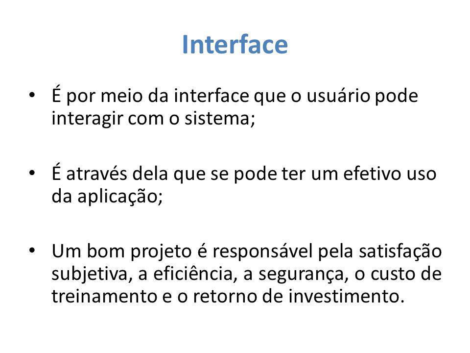 Interface A interface pode ser: – Um meio de interação do usuário com o sistema; – Uma ferramenta que aparelha com os devidos instrumentos o processo interativo em questão.