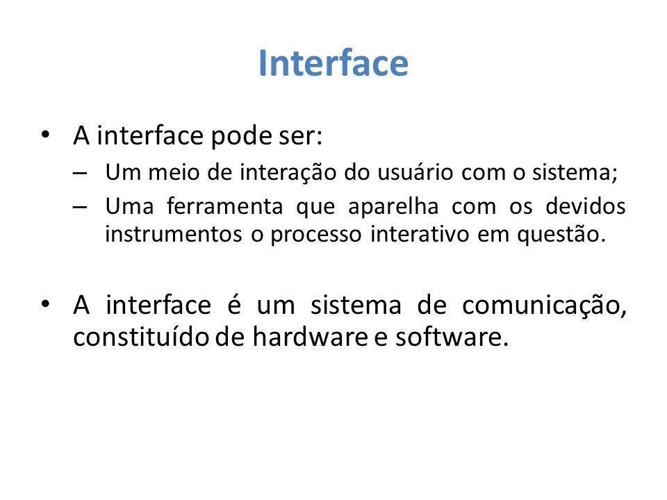 Interface A interação pode ser definida como um processo em que: – Em um primeiro momento, o usuário atua sobre a interface de um sistema; – Logo em seguida, o usuário recebe dela respostas, que deve decodificar.