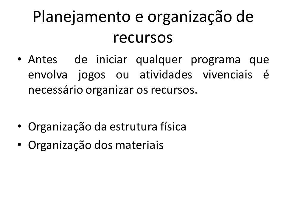 Planejamento e organização de recursos Antes de iniciar qualquer programa que envolva jogos ou atividades vivenciais é necessário organizar os recursos.