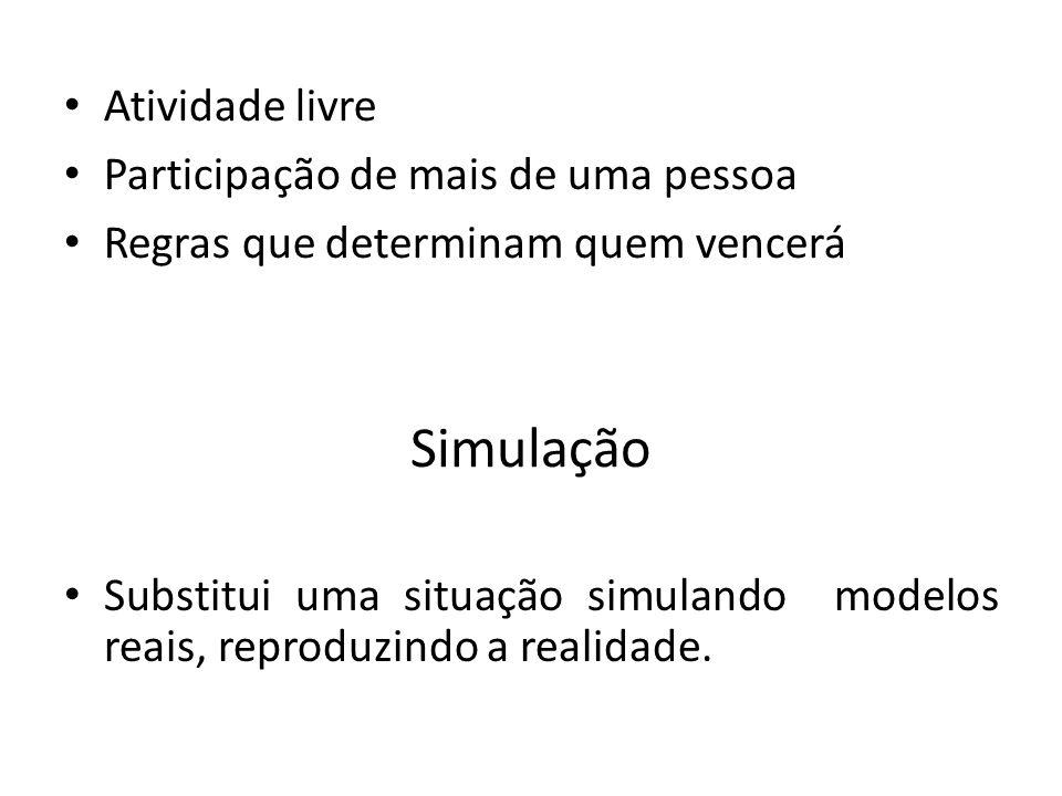 Simulação Substitui uma situação simulando modelos reais, reproduzindo a realidade.