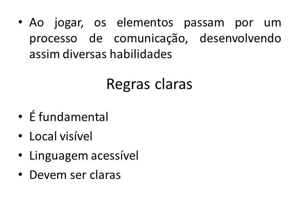 Ao jogar, os elementos passam por um processo de comunicação, desenvolvendo assim diversas habilidades Regras claras É fundamental Local visível Linguagem acessível Devem ser claras