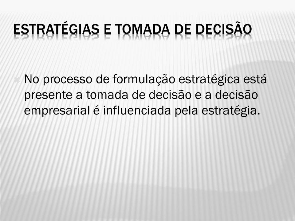 No processo de formulação estratégica está presente a tomada de decisão e a decisão empresarial é influenciada pela estratégia.