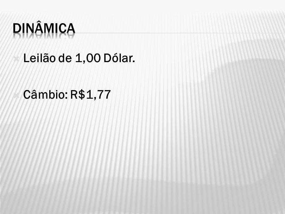 Leilão de 1,00 Dólar. Câmbio: R$1,77