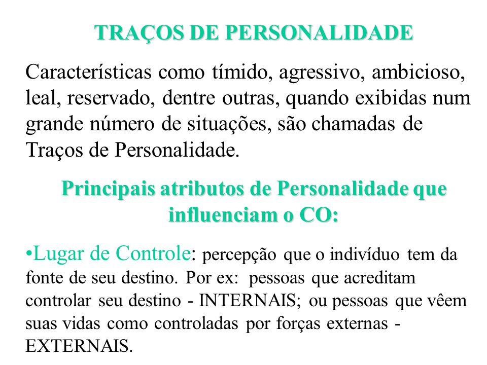 TRAÇOS DE PERSONALIDADE Características como tímido, agressivo, ambicioso, leal, reservado, dentre outras, quando exibidas num grande número de situaç
